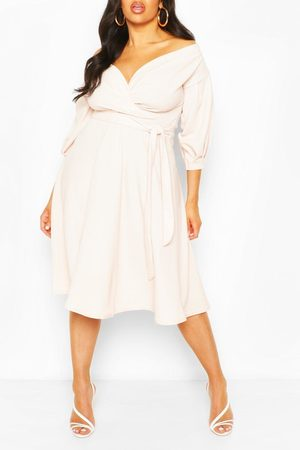 Boohoo Plus Off Shoulder Wrap Midi Dress, Pink