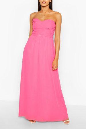 Boohoo Chiffon Bandeau Maxi Bridesmaid Dress, Pink