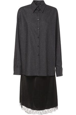 MM6 MAISON MARGIELA Pinstripe Wool & Satin Midi Dress