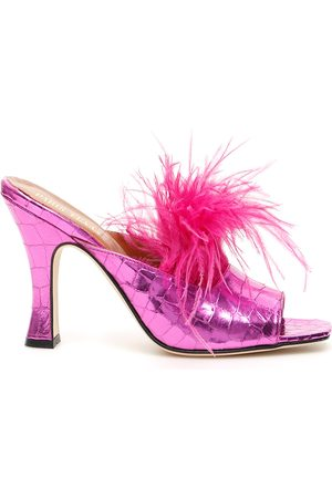 PARIS TEXAS Crocodile print mules with feathers
