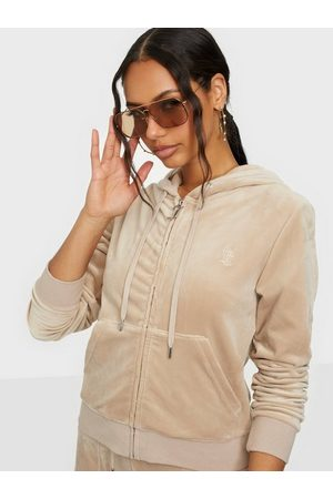 Juicy Couture Robertson Classic Velour Zip Trough Hoodie Hoodies Taupe
