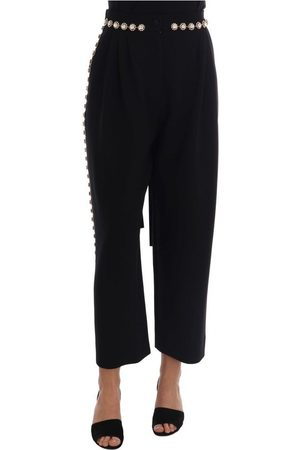 Dolce & Gabbana Wool Stretch Crystal Pants