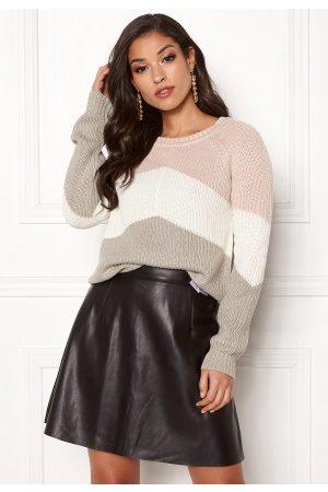 Object Kvinna Stickade tröjor - Graph L/S Knit Pullover Husedv/cloud d/Lt gr M