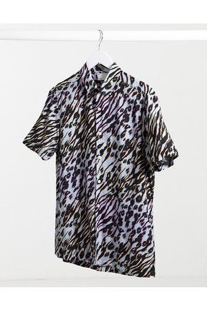ASOS – , djurmönstrad skjorta med normal passform och standardkrage, del av set