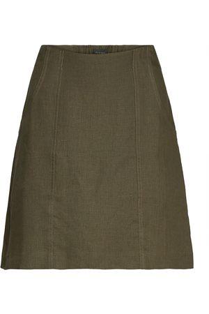 RESIDUS Oak Linen Skirt Kort Kjol Grön