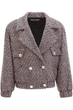 Alessandra Rich Sequin Wool Blend Tweed Bomber Jacket