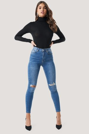 NA-KD Kvinna High waist - Skinny High Waist Destroyed Jeans