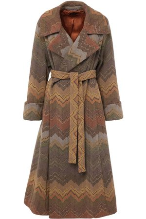 Missoni Jacquard Belted Wool Blend Coat