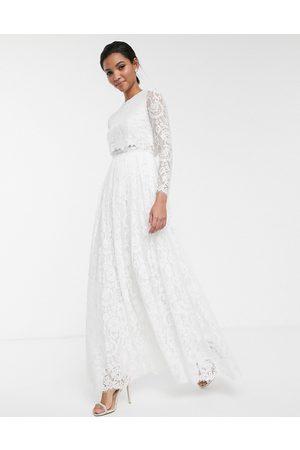 ASOS – Grace – Brudklänning i spets med crop top