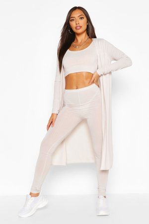 Boohoo Ribbed Crop Top Legging & Duster Co-Ord Set, White