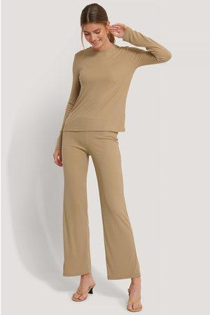 NA-KD Kvinna Utsvängda byxor - Soft Ribbed Wide Basic Pants