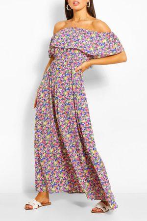 Boohoo Off The Shoulder Floral Maxi Dress, Blue
