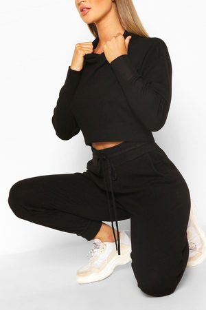 Boohoo Knitted Crop Hoody & Jogger Co-Ord, Black