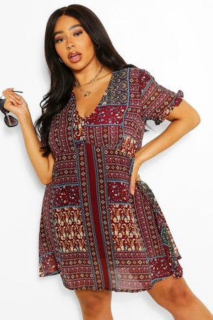 Boohoo Plus Boho Aztec Ruffle Smock Dress, Red