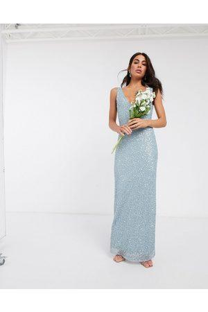 Beauut – Ljusblå elegant maxiklänning med utsmyckning