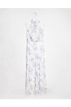 Forever New – Benvit, blommig maxiklänning med hög krage
