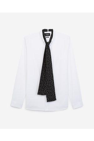 The Kooples Chemise blanche coton avec foulard soie