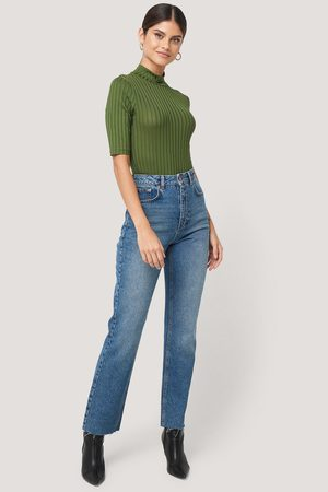 NA-KD High Waist Raw Hem Straight Jeans