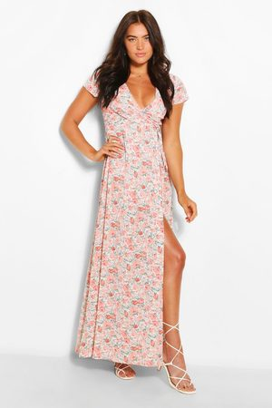 Boohoo Plunge Front Floral Tie Maxi Dress, Pink