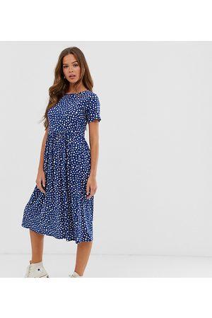 Wednesday's Girl – Spräcklig och prickig midiklänning-Marinblå