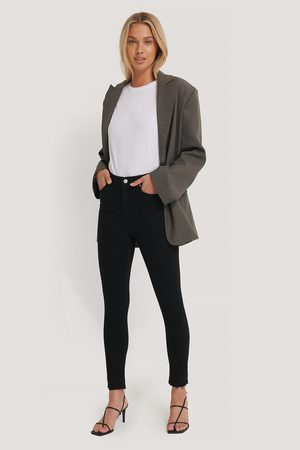 NA-KD Kvinna High waist - Skinny High Waist Open Hem Jeans