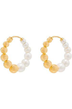 YVONNE LÉON 9kt yellow pearl hoops
