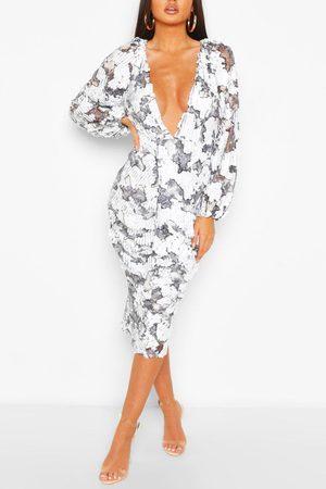 Boohoo Midiklänning Med Paljetter Och Puffärm, White