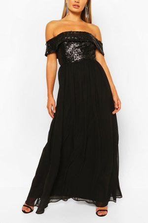 Boohoo Lång Paljettklänning I Bardotmodell, Black