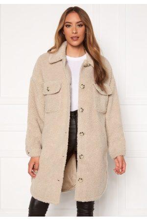 JACQUELINE DE YONG Stella Teddy Shirt Jacket Cement XS