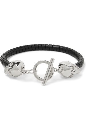 Alexander McQueen Man Armband - Silver-Tone and Leather Bracelet