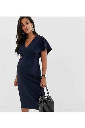 ASOS ASOS DESIGN Maternity – Marinblå fodralklänning i midimodell med vida ärmar