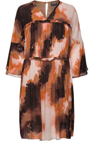 Mos Mosh Kvinna Midiklänningar - Cirah Blur Dress Knälång Klänning Orange
