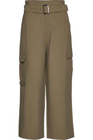 Kaffe Kvinna Utsvängda byxor - Kamargot Cropped Pants Vida Byxor Grön