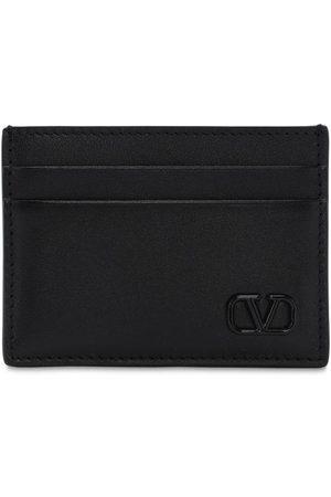 VALENTINO GARAVANI Metal Logo & Leather Card Holder