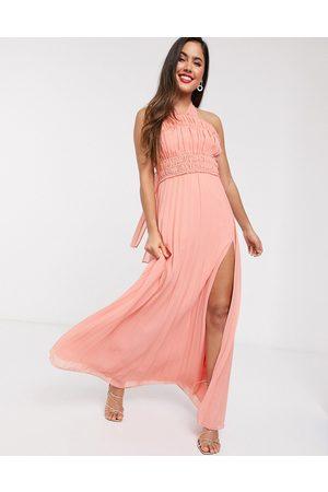 ASOS DESIGN Kvinna Halterneckklänningar - – Maxiklänning med halterneck, rynkad midja och plisserad kjol