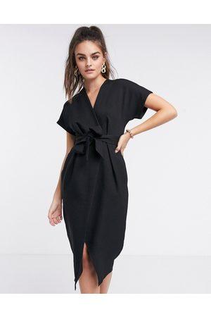 Closet Kvinna Festklänningar - – midiklänning med omlottknytning