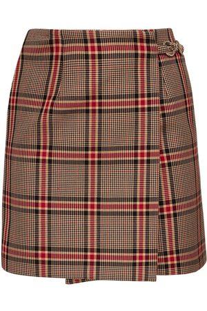 Rokh Check Cotton Blend Mini Skirt