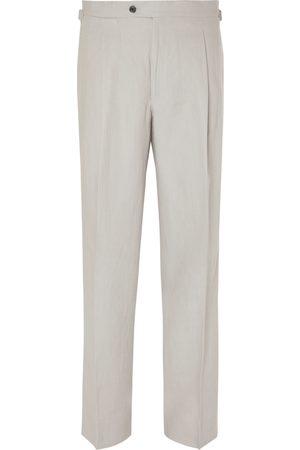 Saman Amel Man Dressade byxor - Wide-Leg Pleated Linen Trousers
