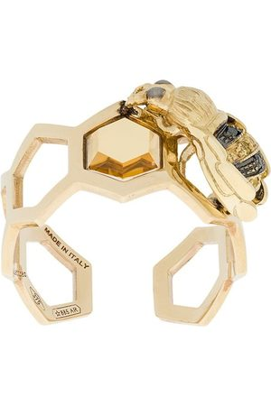 DELFINA DELETTREZ 9kt yellow gold To Bee or Not To Be open ring
