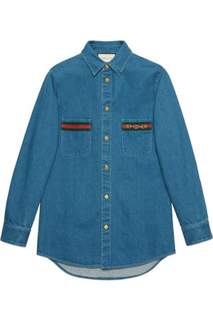 Gucci Man Jeans - Stonewashed denim shirt with Web