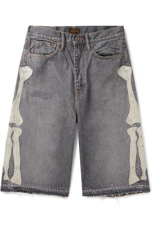 KAPITAL Distressed Appliquéd Denim Shorts