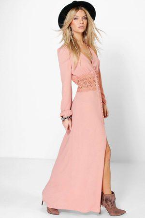Boohoo Maxiklänning Med Midjedetalj I Spets Och Knappar, Pink