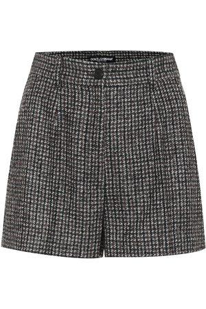 Dolce & Gabbana Checked high-rise wool-blend shorts