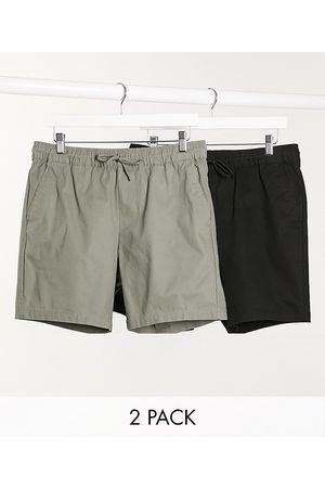 ASOS – Svarta och kakifärgade chinosshorts i smal passform, 2 -pack, spara
