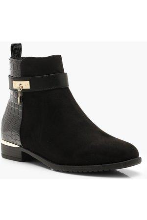 Boohoo Croc Panel Chelsea Boots, Black