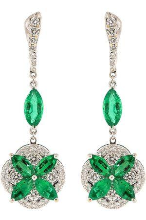 SABOO FINE JEWELS Kvinna Örhängen - Diamantörhängen i 18K vitguld med smaragd