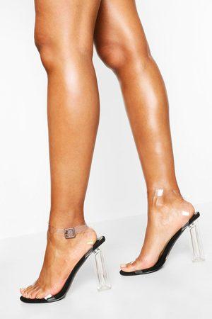 Boohoo Wide Fit Clear Heel 2 Part, Black