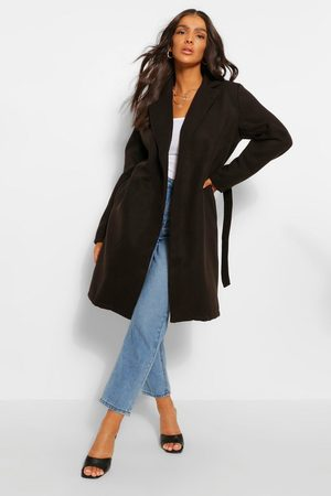 Boohoo Belted Wool Look Coat, Black