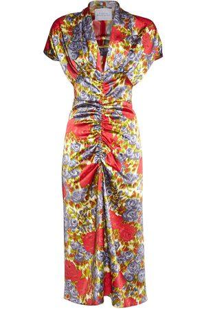 LUISA BECCARIA Printed Satin Ruched Midi Dress
