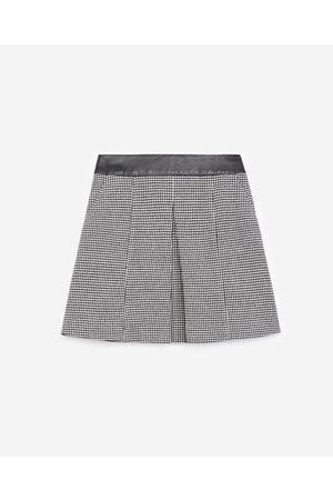The Kooples Houndstooth wool skirt with leather details